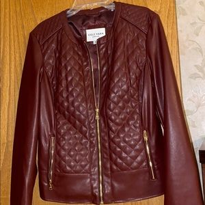 Beautiful mostly leather Cole Haan jacket